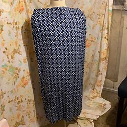 Old Navy Skirts | Stretchy Tall Size Blue Print Full Length Skirt | Color: Blue | Size: Xl