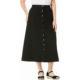 Plus Size Women's Button Front Long Denim Skirt By Woman Within In Black (32 Wide) | Cotton
