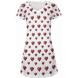 Old Glory 8 Bit Hearts All Over Juniors V-Neck Dress, Women's, Size: Small
