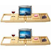 (2 Set) Vaiyer Bamboo Bathtub Tray, Caddy Wooden Bath & Bed Tray Organizer Tray Tablet Holder Cellphone Tray Wine Glass Holder