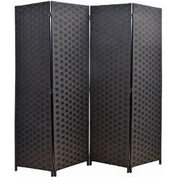 Legacy Decor Weave Design Fiber 4 Panel Room Divider, 71 Inch Tall, Black Color