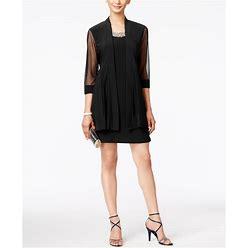 R & M Richards Embellished Dress And Illusion Duster Jacket - Black