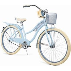 Huffy, Nel Lusso Classic Cruiser Bike With Perfect Fit Frame, Women's, Light Blue, 26 Inch Size: 26-Inch