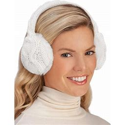 Collections Etc. Collections Etc Stylish And Soft Cable Knit Faux Fur Earmuffs White, Women's, Size: One Size