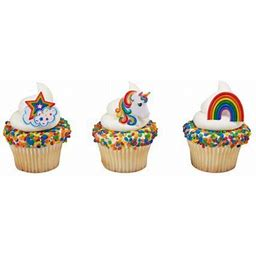 On Sale 12 Rainbow And Unicorn Cupcake Cake Ring Birthday Party Favor Toppers, Assorted