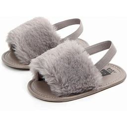 Joy Guru Baby Girls Faux Fur Shoes Slippers, Cute Infant Plush Slide Sandal First Walkers Anti-slip Walking Shoes For 0-18m, Infant Girl's, Size: 13,