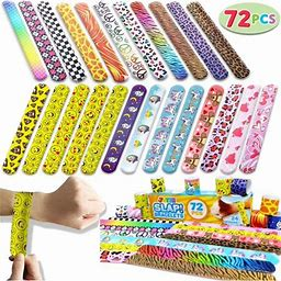 My Little Pony Valentines Toy 72 Pcs Slap Bracelets Valentines Day Party Favors Pack (24 Designs) With Colorful Hearts Animal Emoji And Unicorn For