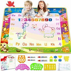 Aqua Magic Doodle Drawing Mat - 40X30 Inches Large Color Water Writing Painting Board For Kids Baby Toddler - Mess Free Educational Toys Xmas Gift