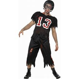 Zombie Football Player Costume | Adult | Mens | Black | L | Smiffys