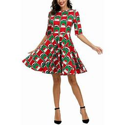 Avamo Women Casual Christmas Santa Claus Printed Dresses Half Sleeve A-line Loose Party Evening Cocktail Swing Dress, Women's, Size: XL, Green