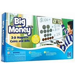 Big Money 3-D Magnetic Coins And Bills By Educational Insights ,Multi
