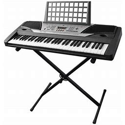 Electronic Piano Keyboard 61 Key Music Key Board Beginner 37x14x5 Inch Piano LCD Display W/ X Stand Manual, Beige
