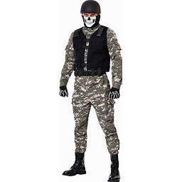 Battle Soldier Men's Costume | Adult | Mens | Green/Brown | XL | FUN Costumes