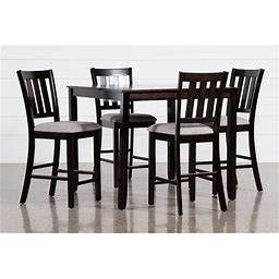 "Kodi 5 Piece Counter Height Dining Table Set - Black - Wood - 42""W X 42""D X 36""H"