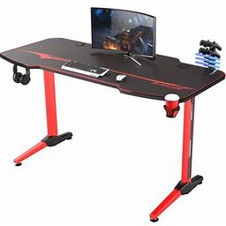 Walnew 55 Inch T-Shaped Legs Computer Gaming Desk Carbon Fiber Surface Gaming Desk With Cup Holder & Headphone Hook(Red) Size: 24.6 Inch