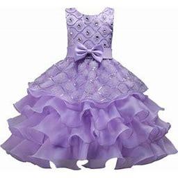 HiMONE Children's Diamond Lace Sleeveless Dress Evening Dress Ruffle Retro Embroidery Wedding Dress Party Dress, Girl's, Size: 110(3-4T), Purple