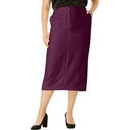 Plus Size Women's Tummy Control Bi-Stretch Midi Skirt By Jessica London In Dark Berry (28 Wide)