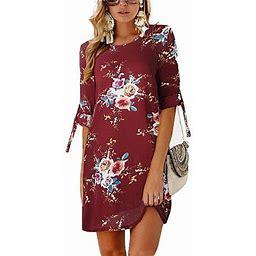 Vista Women's Summer Round Neck Printed Casual Mini Dress, Size: Medium, Red Red