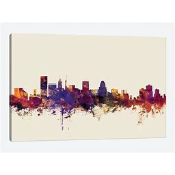 Baltimore, Maryland, USA On Beige Canvas Print Wall Art By Michael Tompsett