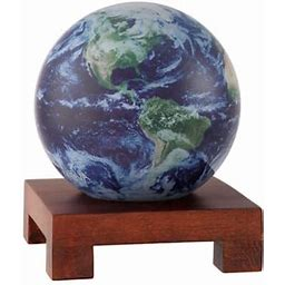 "Mova MOVA 4.5"" Earth View Cloud Cover Revolving Globe With Square Natural Wood Base"