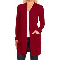 Moa Collection Women's Long Sleeves Loose Fit Open Front Side Pockets Solid Cardigan Made In USA, Size: 2XL, Red