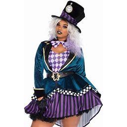 Leg Avenue Womens 4 PC Plus Size Delightful Hatter Costume, Multicolor