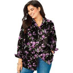 Plus Size Women's Long-Sleeve Kate Big Shirt By Roaman's In Purple ...
