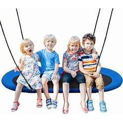 Gymax 60' Saucer Tree Swing Surf Outdoor Adjustable Kids Giant Oval Platform Swing Set Blue