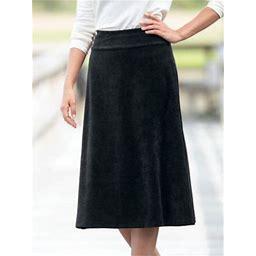 Women's Corded Velour Skirt, Black S Misses, Appleseed's
