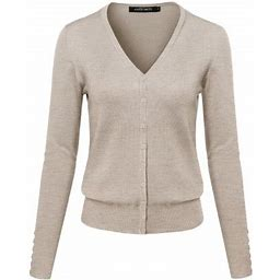 Fashionoutfit Women's Basic Solid V-Neck Button Closure Long Sleeves Sweater Cardigan, Size: Large, Beige