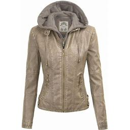 Made By Johnny Mbj Wjc1044 Womens Faux Leather Quilted Motorcycle Jacket With Hoodie S Khaki, Women's, Size: Small, Beige