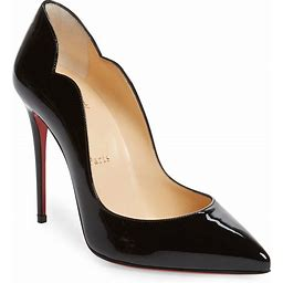 Women's Christian Louboutin Hot Chick Scallop Pointed Toe Pump, Size 8US - Black