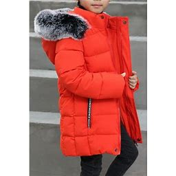Unomatch Kids Boys Autumn Winter Big Collar Warm Padded Jacket, Boy's, Size: 4, Orange