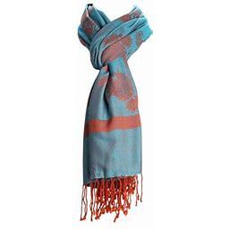 Amtal Women Floral Jacquard Soft Silky Pashmina Style Scarf W/Tassels, Women's, Size: One Size, Blue
