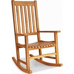 Rocking Chair Solid Wooden Frame Porch Rocker Indoor Outdoor - Natural