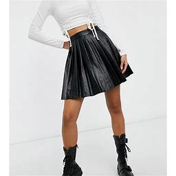 Violet Romance Tall Pleated PU Mini Skirt In Black - Black (size: 2)