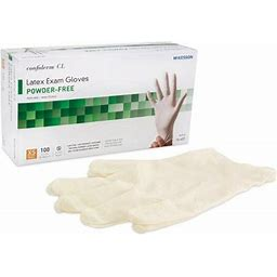 Exam Glove McKesson X-Small NonSterile Latex Standard Cuff Length Textured Fingertips 100/Box, Adult Unisex, Size: One Size, White