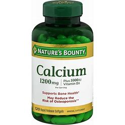 Nature's Bounty Calcium 1200 Mg Plus Vitamin D3 1000Iu Dietary Supplement Softgels - 120Ct (1-3 Units)