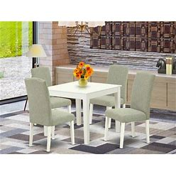 Wayfair Borgey 5 Piece Solid Wood Dining Set Wood/Upholstered Chairs In White, Size 30.0 H X 36.0 W X 36.0 D In