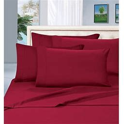 6-Piece Bed Sheet Set - 1500 Thread Count Silky Soft Sheet Set,Queen, Burgundy, Red