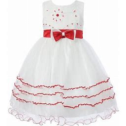 Richie House Girls White Red Floral Embroidered Layered Dress 8/9, Girl's