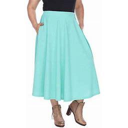 White Mark Tasmin Womens Stretch Midi Flared Skirt-Plus, 1x , Green