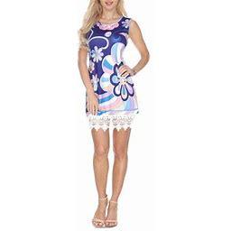 White Mark Women's Purple Printed Crochet Trim Size:XL Mini Dress