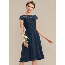 Jjshouse A-Line Scoop Neck Knee-Length Chiffon Lace Homecoming Dress With Sequins Bow(S)