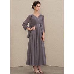 Jjshouse A-Line V-Neck Ankle-Length Chiffon Mother Of The Bride Dress With Beading Appliques Lace Sequins
