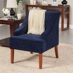 Porch & Den Lyric Navy Velvet Swoop Arm Accent Chair