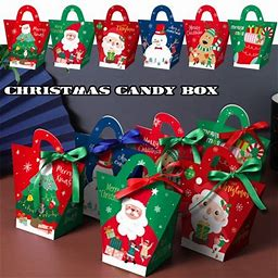 10Pcs Assorted Christmas Bag Candies Cookies Bags With Handles Design Party Paper Favour Candy Gift Sweet Boxes, Red
