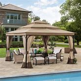 Sunjoy 13 Ft. X 13 Ft. Steel Gazebo With 3-Tier Tan And Brown Canopy