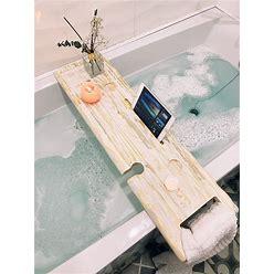 Wooden Bath Caddy, Bathtub Tray, Farmhouse Bath Caddy, Rustic Bath Caddy, Live Edge Solid Character Bath Board, Bath Tray With Wine Holder