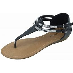 Star Bay New Women's Fashion Jewel Casual Crystal Double Buckles Strap Thong Flat Sandal Black, Size: 9